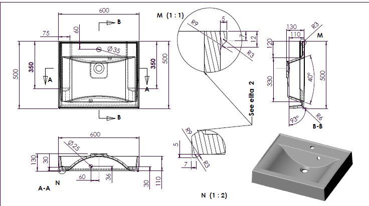 Схема раковины Marmite Elita-3