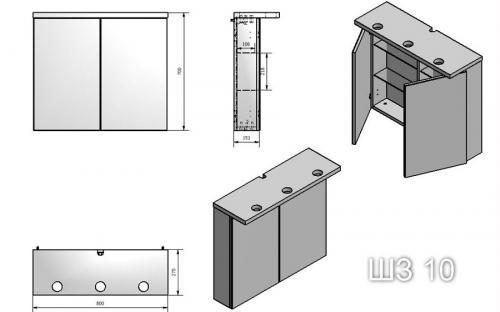Шкафчик для ванной комнаты зеркальный МС-10 (ШЗ-10)