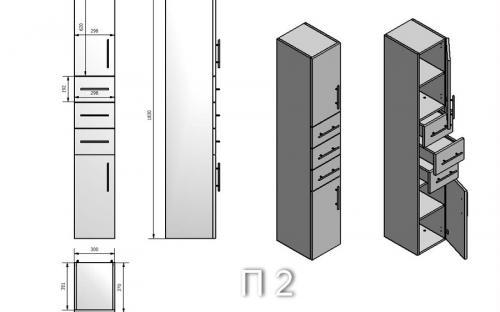 Пенал для ванной комнаты SC-2 (П-2)