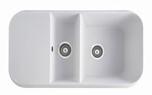 Гранитная кухонная мойка Marmorin Opal I - 2 чаши со сливной полкой 1000х500х270 мм