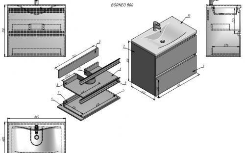 Шкафчик навесной Borneo 800 с раковиной Yonna 800