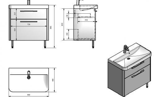 Шкафчик навесной Devon 80 с раковиной Fancy Marble Сarla 800