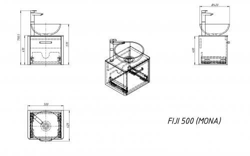 Шкафчик навесной Fiji 50 с раковиной Fancy Marble Mona