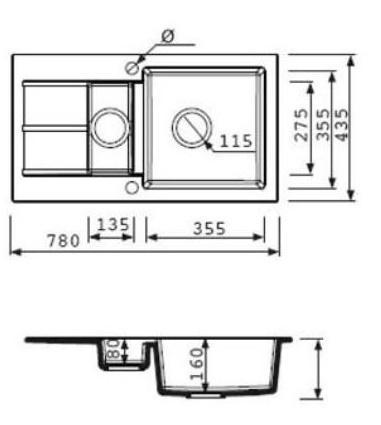 Гранитная мойка для кухни Fancy Marble Alabama (Черный)