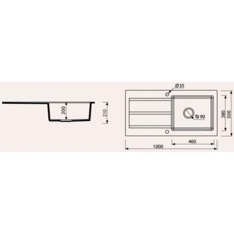 Мойка гранитная для кухни Marmorin Bario - 1 чаша со сливной полкой 1000х500х215 мм